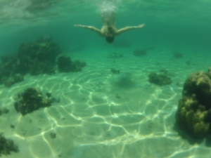 Swimming at Plage to Vaiava... worth bringing a snorkel or goggles.